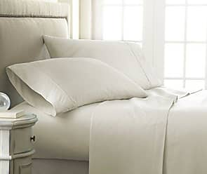 iEnjoy Home Becky Cameron 4 Piece Sheet Set Embossed Checker, King, Check Cream