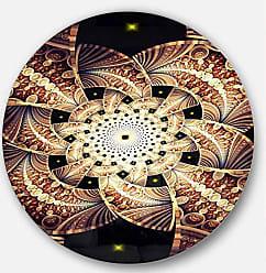 DESIGN ART Designart MT12044-C23 Symmetrical Yellow Brown Fractal Flower Modern Floral Large Disc Metal Wall Art- Disc of 23,Black,23 X 23