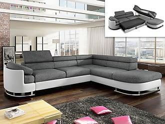 972e922b517 Vente-Unique Canapé dangle convertible en tissu et simili MYSEN - Blanc et  gris -