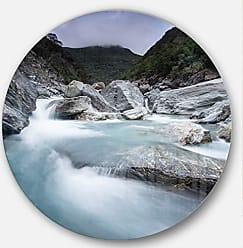 DESIGN ART Designart Slow Motion Mountain River in Blue Seashore Round Wall Art Disc of 38 inch 38x38-Disc