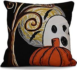 E by Design E by design O5PHGN752BK4-18 18 x 18 Ooky Spooky Geometric Print Black Outdoor Pillow