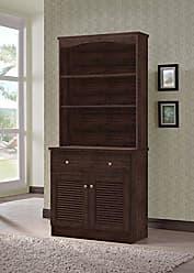 Wholesale Interiors Agni Buffet and Hutch Kitchen Cabinet, Dark Brown