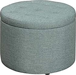 Convenience Concepts 161546FLGN Designs4Comfort Round Shoe Ottoman, Green Faux Linen