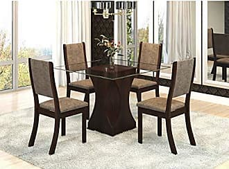 Viero Conjunto Sala de Jantar Mesa Tampo Vidro Ciranda 4 Cadeiras Kiara Viero Choco/Canela