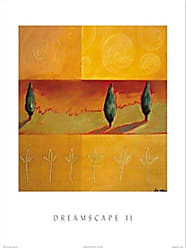 Buyartforless Buyartforless Dreamscape II by Liz Rider 19.75x23.5 Art Print Poster Abstract Painting Colorful Shapes Green Orange Spirals Trees