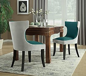 Iconic Home Conrad Dining Side Chair Velvet PU Leather Espresso Wood Frame Modern Transitional, Light Grey/Teal, 2pc Set