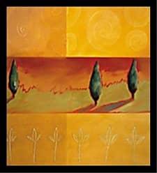 Buyartforless Buyartforless Framed Dreamscape II by Liz Rider 16x16 Art Print Poster Abstract Painting Colorful Shapes Green Orange Spirals Trees