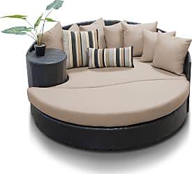 TK Classics Newport Circular Sun Bed - Outdoor Wicker Patio Furniture