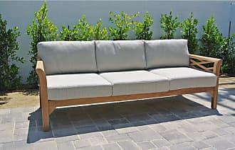 Willow Creek Designs Outdoor Willow Creek Designs Monterey Teak Sofa with Sunbrella Cushion Canvas Heather Beige - WC-18-5422