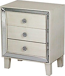 Heather Ann Creations Bon Marche Series 3 Drawer Small Space Saving Square Wooden Cabinet with Mirrored Trim, Antique White