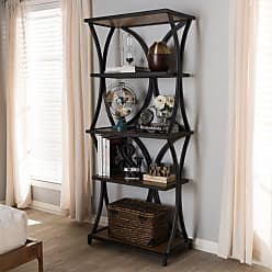Baxton Studio Lancashire Rustic Industrial Style Oak Brown Finished Wood and Black Finished Metal Bookshelf - YLX-0004-BR