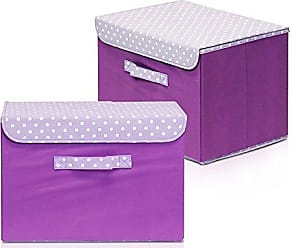 Furinno 2NW13203PP Non-Woven Fabric Soft Storage Organizer with Lid, Purple, Set of 2