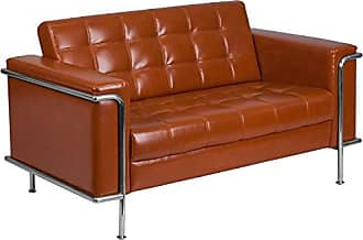 Flash Furniture HERCULES Lesley Series Contemporary Cognac Leather Loveseat with Encasing Frame