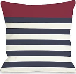 One Bella Casa Nautical Stripes Throw Pillow by OBC, 18x 18, Red/Navy/White