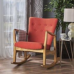 Christopher Knight Home 301996 Collin Mid Century Fabric Rocking Chair (Muted Orange), Light Walnut