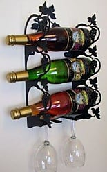 Village Wrought Iron 15.5 Inch Grapevine Wine Rack Wall Mount