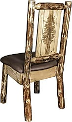 Montana Woodworks Montana Wooodworks Glacier Country Collection Side Dining Chair, Saddle Upholstery, with Laser Engraved Pine Tree Design