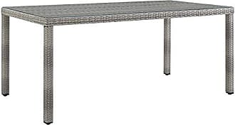 ModWay Aura Wicker Rattan Outdoor Patio 68 Rectangular Dining Table in Gray
