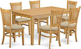 East West Furniture CAVA7-OAK-C 7 Pc Dining Room Set - Kitchen dinette Table and 6 Dining Chairs