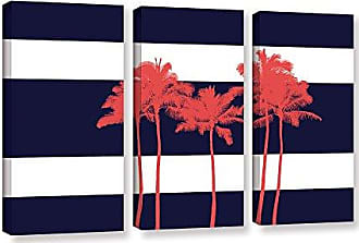 Brushstone Ramona Murdock Indigo Stripe Palm I 3 Piece Gallery Wrapped Canvas Set, 24X36