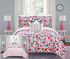 Chic Home Meritt 4 Piece Reversible Quilt Set Colorful Floral Print Design Coverlet Bedding - Decorative Pillows Shams Included/XL Size, Twin, Pink