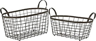 Urban Trends Collection Urban Trends Metal Rectangular Wire Basket with Handles and Mesh Body Set of Two Coated Finish Bronze, Bronze