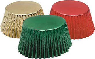 Fox Run Craftsmen Fox Run 7102 Foil Baking Cups, Standard, Red/Gold/Green