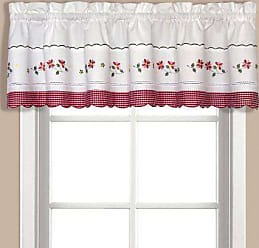 United Curtain Gingham Embroidered Valance, 60 by 14-Inch, Red