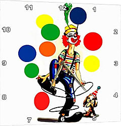 3D Rose 3dRose Fun Clown - Wall Clock, 13 by 13-Inch (DPP_1258_2)