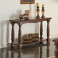 Benzara BM171402 Wooden Console Table with Bottom Shelf Brown