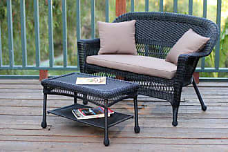 Jeco W00207-LCS007 Wicker Patio Love Seat and Coffee Table Set with Brown Cushion, Black