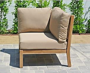 Willow Creek Designs Huntington Teak Outdoor Corner Sectional Piece Canvas Heather Beige - WC-36-5476
