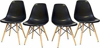 Pelegrin Kit Com 4 Cadeiras em Abs Pw-071 Preto Pelegrin com Design Charles Eames Dkr Eiffel