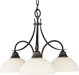 Feiss F1885/3ORB Boulevard Chandelier - Kitchen in Oil Rubbed Bronze finish with Opal white etched glass shade