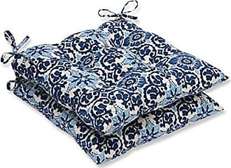 Pillow Perfect Outdoor/Indoor Woodblock Prism Wrought Iron Seat Cushion (Set of 2), Blue