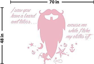 The Decal Guru Beard Funny Quote Wall Decal (Carnation Pink, 48 (H) X 70 (W))