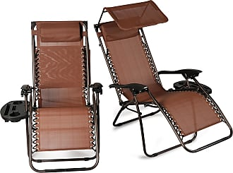 Overstock BELLEZE 2 Pack Zero Gravity Chairs Canopy Shade Headrest Pillows Recliner with Tray, Brown