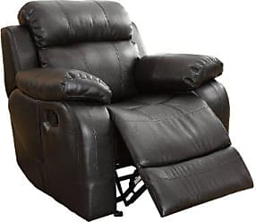 Homelegance 9724BLK-1 Rocker Reclining Chair, Black Bonded Leather
