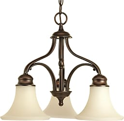 PROGRESS Applause Antique Bronze 3-Lt. Chandelier Tea Stained Spotted glass shades