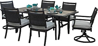 Oakland Living Outdoor Oakland Living Wood and Aluminum 7 Piece Stackable Patio Dining Set with 2 Rockers and Sunbrella Cushions - 8888T-8777C4-8444S2-CU-13-ET