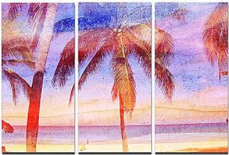DESIGN ART Designart Retro Palms Light Watercolor-Trees Painting Canvas Art Print-36x28in-Multipanel 3 Piece, 36x28-3 Panels, Blue