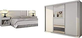 Siena Móveis Quarto de Casal Completo MadeiraMadeira com Guarda Roupa 3 Portas e Cabeceira com 2 Criados Mudos 401493 Branco