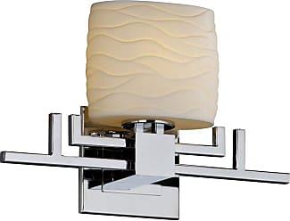 Justice Design Group Limoges POR-8711 Aero 1 Light ADA Wall Sconce - Oval Waves Shade - POR-8711-30-WAVE-CROM