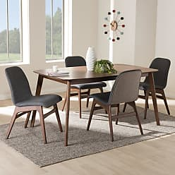 Baxton Studio Embrace Mid-Century Modern Fabric Upholstered 5 Piece Dining Set - EMBRACE-5PC DINING SET