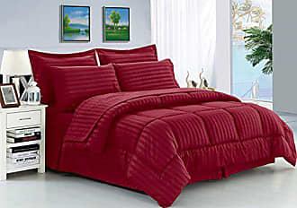 Elegant Comfort Wrinkle Resistant - Silky Soft Dobby Stripe Bed-in-a-Bag 8-Piece Comforter Set -Hypoallergenic - Full/Queen, Burgundy