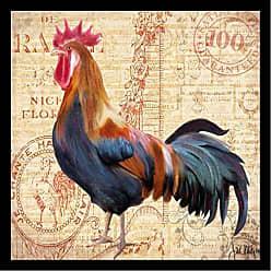 Buyartforless Framed Coq Bleu by Jill Meyer 24x24 Art Print Poster Abstract Chicken Post Card Facing Left