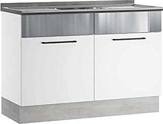 Itatiaia Balcão de Cozinha com Pia Inox 2 Portas e Rodapé Exclusive Itatiaia Branco/Inox