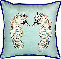 Betsy Drake SN388C Betsys Sea Horses - Teal Pillow, 12 x12