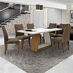 Leifer Conjunto Sala de Janta Mesa Tampo Branco 6 Cadeiras Pampulha Leifer Imbuia Mel/Branco/Capuccino