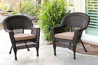 Jeco W00201_2-FS007-CS Wicker Chair with Brown Cushion, Set of 2, Espresso